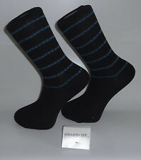 Black Socks with Blue and White Stripes