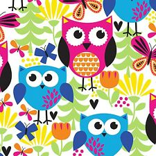 Fabric Owls Primary Skinny Legs On White Flannel 1 Yard