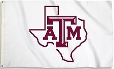 Texas A&M Aggies 3' x 5' Flag (Texas State Shape on White) NCAA Licensed