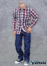 ZY TOYS 1/6 Red Checker Shirt+Blue Jeans+Belt fit hot toys gi joe figure body