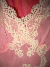 VTG 60s Kayser Pink Lace Double Layer Chiffon Two Toned Empire Nightgown M 36