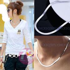 4mm Women Men's 925 Sterling Silver Flat Snake Bone Choker Necklace Chain Gifts