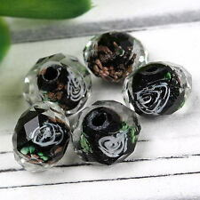 10x Clear Black Lampwork Glass Rose Flower Charm Loose Bead Jewelry Findings DIY