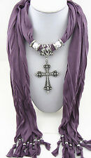 NEW fashion jewelry Cross pendant necklace scarf charms scarves shawl Y15