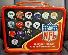 Vintage 1976 NFL Helmets Lunch Box With Thermos