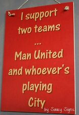 Manchester United versus Manchester City EPL English Football Soccer Wooden Sign