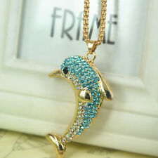Dolphin Sweater Necklace Rhinestone Crystal Pendant Chain Jewelry Christma Gift