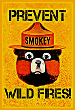 *PREVENT WILD FIRES SMOKEY BEAR SIGN* U.S. FOREST SERVICE VINTAGE ANTIQUE IMAGE