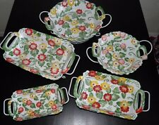 RARE TEMPTATIONS By Tara Bakeware Cookware 10pc. Red Yellow Flowers Great Cond.!