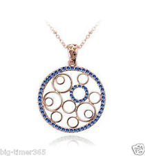 18K Rose Gold Plated Round Blue Pendant Necklace Use SWAROVSKI CRYSTAL Chain