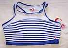 One Active By Michelle Bridges Ladies White Blue Hi Neck Crop Top Size 16 New