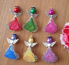 6x Angel Charms Pendants Frosted Flower Filigree 2 Tones Mixed Bright Colours