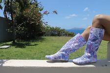 Summer crochet boots Mid-calf, Floral Size 7