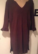 East Coast Cheesecloth Tunic Top Shirt Chocolate Brown Size 22 cotton boho chic