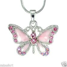 """BUTTERFLY W Swarovski Crystal Pink Wings Pendant Necklace Gift Winx 18"""" Chain"""