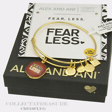 Authentic Alex and Ani Fearless Yellow Gold Charm Bangle-CBD