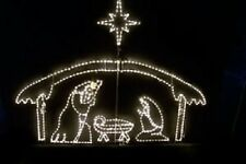 Large Nativity w Shelter Scene Outdoor LED Lighted Decoration Steel Wireframe