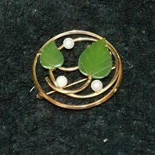 Vintage Van Dell Gold Filled Brooch with Pearls and Green Leaves