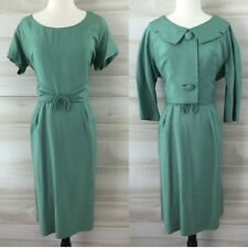 Vintage 40s 50s celadon green linen wiggle dress and crop jacket XL