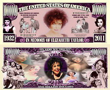 ELIZABETH TAYLOR - BILLET 1 MILLION DOLLAR US ! Collection Actrice Hollywood LIZ