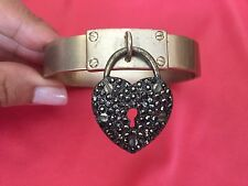 Betsey Johnson Vintage Bronze Bolt Hematite Gray Crystal Heart Lock Bracelet