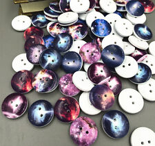 50PCS  2 Holes Mixed Space pattern Wooden Buttons Fit Sewing and Scrapbook 20mm