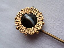 ANTIQUE 9 CT GOLD AGATE STICK LAPEL TIE PIN