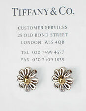 Tiffany & Co Paloma Picasso 18Ct 18k Gold & Silver Daisy Flower Stud Earrings