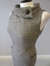 HOBBS ROLLED COLLAR DETAIL WOOL FULLY LINED DRESS - SIZE 18 - BROWN