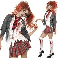 Ladies Sexy Zombie School Girl Uniform Halloween Fancy Dress Costume Outfit