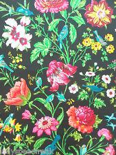 Schumacher Curtain Fabric AVONDALE FLORAL 10.4m Night Garden (Black) Cotton