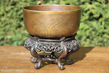Chinese Tibetan Buddhist Bronze Mendicant Bowl 清代藏传佛教梵文八宝纹青铜托钵 #20150091