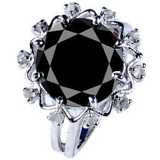 6.79 ct BLACK MOISSANITE ROUND & RAW NATURAL DIAMOND .925 SILVER RING SIZE 7.5