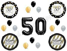 50th Fifty Happy Birthday Party Balloons Decoration Supplies Over The Hill Black