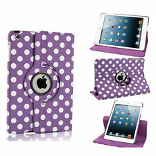 PURPLE Fashion Dot Leather 360° Rotating Stand Case Cover For iPad 2/3/4 UK SELL
