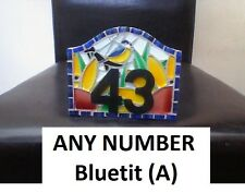 ANY NUMBER Bluetit (A) Coloured Glass Mosaic House Number Plate Sign Plaque