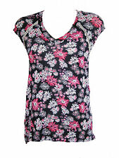 BRAND NEW ROXY WOMENS FLORAL V NECK T SHIRT TEE TOP BLOUSE STRETCH RAYON TUNIC S