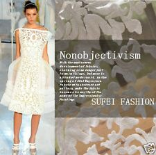 "Delicate DIY Elegant White Organza Embroidery Floral Dress Lace Fabric 51""/Yd C"