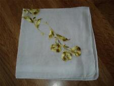 Vintage Machine Embroidery Hankie - Yellow & Gold Spray of Flowers - #218