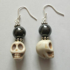 SKULL DROP EARRINGS Howlite Skull Bead WHITE Punk Goth Day of the Dead