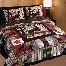 WHITETAIL LODGE 3pc Queen Quilt Set Cabin Hunting Buck Deer Antler Bear Moose