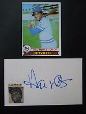 "Hal McRae, Autograph on a 3"" x 5"" index card, with Baseball card, Outfield"