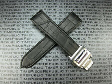 20mm Leather Strap Deployment Buckle set Black Band SANTOS 100 32mm II