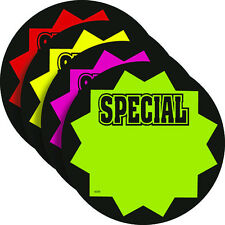 "SPECIAL 3.25"" Round Fluorescent Burst Neon Retail Sale Signs Cards 25 Each Color"