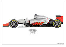 F1 GRAND PRIX 2016 HAAS VF-16 GROSJEAN  LTD EDITION AIRBRUSH PRINT