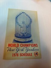 1978 New York Yankees World Champions Schedule