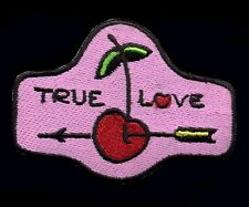 True Love Patch Badge Traditional Tattoo Cherry Pin Up Retro Rockabilly Punk