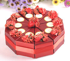 10pc Red Paper Wedding/Party Gift Favor Candy Box With Silk Ribbon and flower