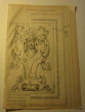 Old 1885 ART PRINT - CARVED Walnut WOOD PANEL DESIGN - Art Amateur Supplement