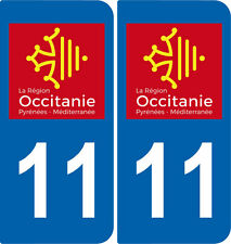 2 Stickers autocollant plaque immatriculation Auto 11 Occitanie - LogoType